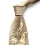 Fern tie: Ivory-cream on champagne.