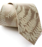 Fern necktie: Ivory-cream on champagne.