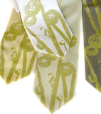 Pea green ink on butter yellow, celery, ivory silk, sage.