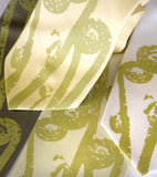 Pea green ink on butter yellow, celery, sage, ivory silk.