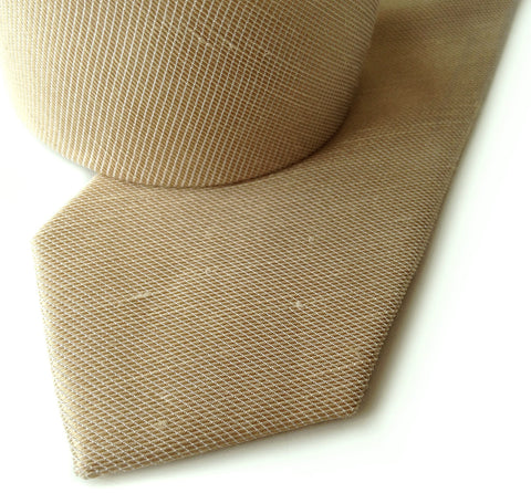 Champagne Linen Necktie. Solid color tie, Fisher