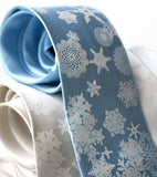 Snowflake Necktie. White on sky blue.