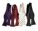 Fleue de Lis bow ties. Eggplant, burgundy; platinum; black.