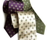 Fleur-de-lis neckties by cyberoptix. Eggplant, cream, olive. Antique brass print.