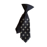 Boys black and gold fleur de lis clip-on tie