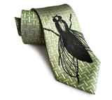 Fly Print Necktie Sample Sale, Limited Edition Luxe Silk Tie, By Cyberoptix