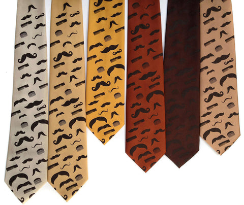 Flying Mustaches Silk Necktie