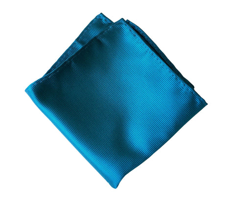 French Blue Pocket Square. Solid Color Fine-Stripe, No Print