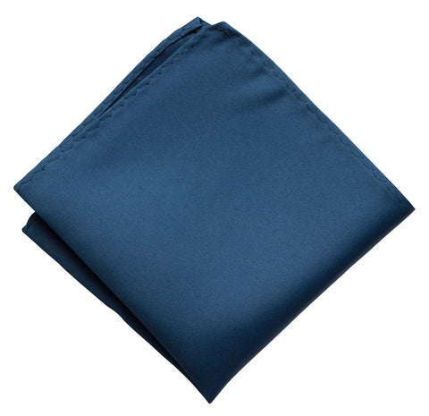 French Blue Pocket Square. Solid Color Satin Finish, No Print