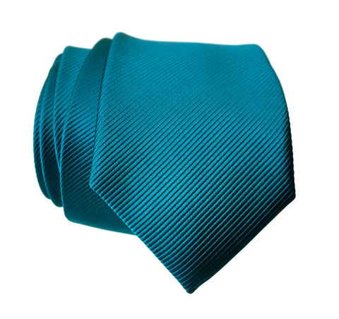 French Blue Necktie. Solid Color Fine-Stripe Tie, No Print