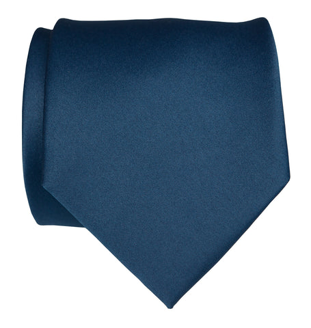French Blue Necktie. Solid Color Satin Finish Tie, No Print