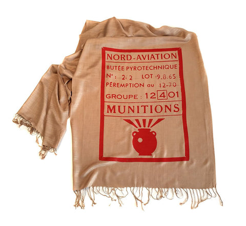 French Anti Tank Missile Scarf. Linen-weave Pashmina