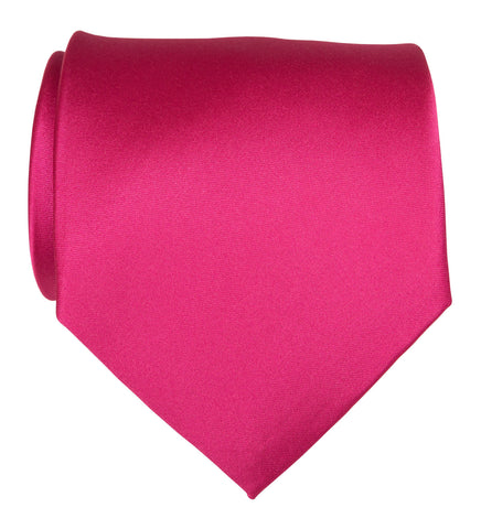 Fuchsia Pink Necktie. Solid Color Satin Finish Tie, No Print
