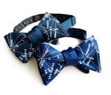 Milky Way bow tie: peacock & french blue.