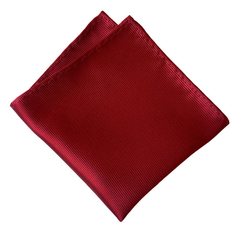Garnet Red Pocket Square. Solid Color Fine-Stripe, No Print