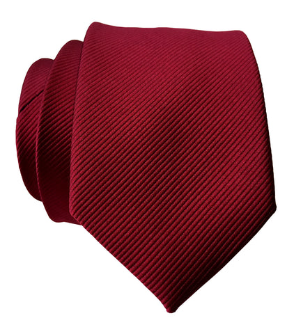 Garnet Red Necktie. Solid Color Fine-Stripe Tie, No Print