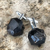 Garnet Cufflinks. Raw, rough crystal cuff links