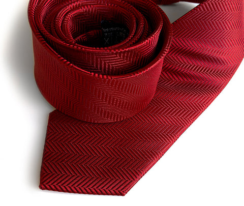 Garnet Red Herringbone Silk Necktie