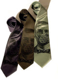Gas Mask necktie. Black ink on charcoal, olive and sage.