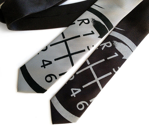 Gear Shift Necktie, herringbone silk tie.