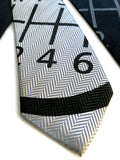 Gear Shift silk tie: black on silver.