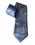 Cadet Blue Gemini Rocket Necktie. Titan Launch Vehicle Blueprint Diagram Silk Ties, by Cyberoptix