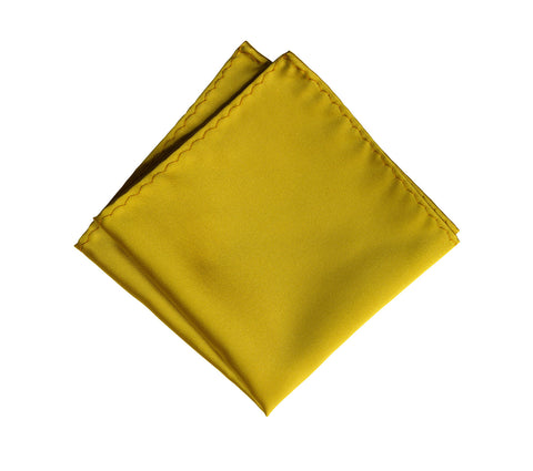 Gold Pocket Square. Medium Yellow Solid Color Satin Finish, No Print
