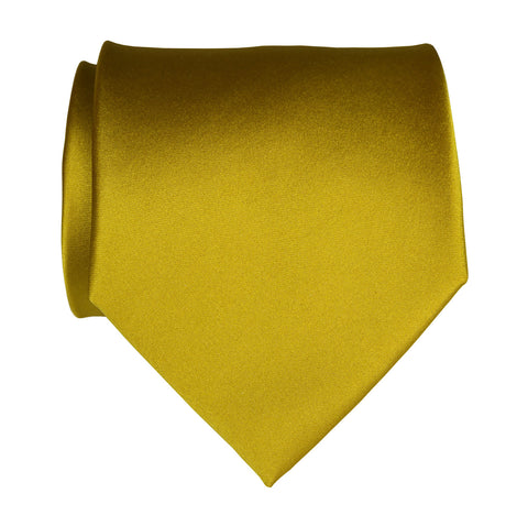 Gold Necktie. Medium Yellow Solid Color Satin Finish Tie, No Print