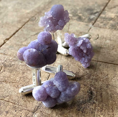 Grape Agate Cufflinks, purple chalcedony