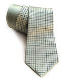 Graph Paper necktie: Golden olive ink on seafoam. Cyberoptix Tie Lab