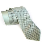 Graph Paper mens necktie: Golden olive print on seafoam.