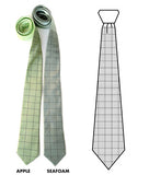 Graph Paper neckties: Golden olive ink on seafoam and apple.