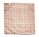 Graph Paper pocket square: dark salmon on cream.