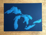 Blue Great Lakes silkscreen poster print, Cyberoptix