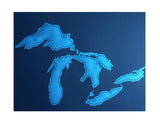 Great Lakes Poster, screen printed art print, Cyberoptix