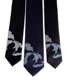 Great Lakes Map Necktie. Pale grey and steel ink on black and navy.