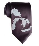 Great Lakes Map Tie: Pale grey on charcoal.