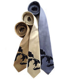 Great Lakes Map Neckties. Navy ink on soft gold, cream, steel.