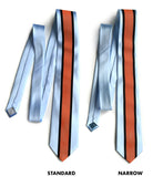 Gulf Livery necktie: orange and black on sky blue.