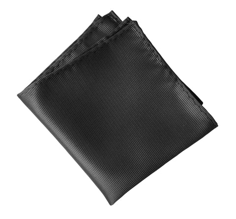 Gunmetal Pocket Square. Solid Color Fine-Stripe, No Print