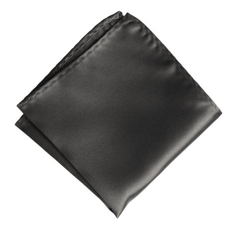 Gunmetal Pocket Square. Solid Color Dark Grey Satin Finish, No Print