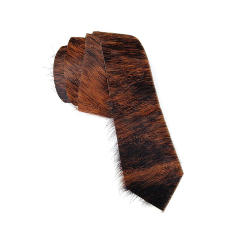 Black and Brown Brindle Hair-On Hide Leather Necktie