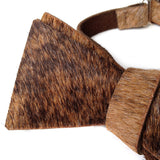 Black and Brown Brindle Hair-On Hide Leather Bow Tie