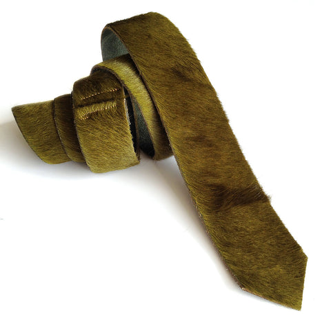 Dark Chartreuse Hair-On Hide Leather Necktie
