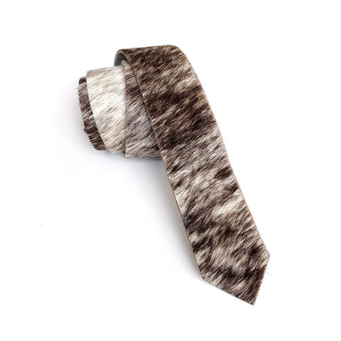 Salt and Pepper Brindle Hair-On Hide Leather Necktie