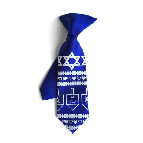 Hanukkah Sweater kids tie. Boys clip-on necktie