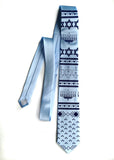 Sky blue Hanukkah sweater necktie