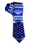 Royal blue Chanukah Sweater necktie