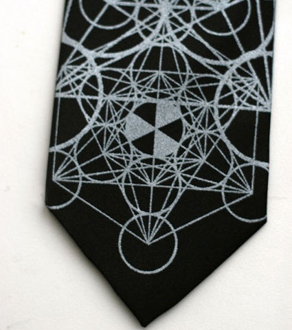 Sacred Geometry Silk Necktie. Flower of Life Tie.