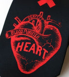 black and red Anatomical Heart Necktie.